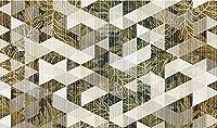 壁の壁画 壁紙 抽象的な幾何学的な植物の葉 壁画 壁紙 ベッドルーム リビングルーム ソファ テレビ 背景 壁 壁面装飾のための,400x280cm