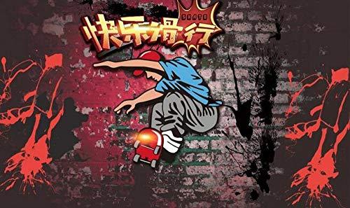 Wandaufkleber Wandtattoo Graffiti Ziegelmauer Fitness Sport Skateboard Poster Bild Fitness Hintergrund Fototapete Boxen Fitnessstudio Tapete Wandbild-150cm x 105cm