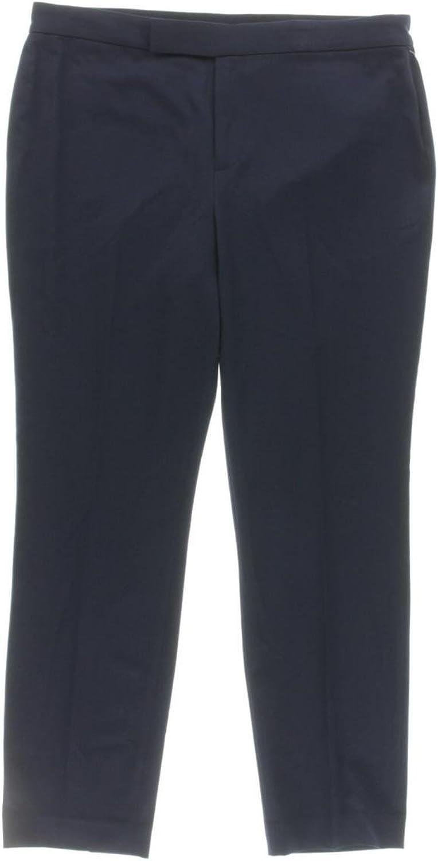 Lauren Ralph Lauren Womens Cropped Faux Pocket Trouser Pants Navy 6