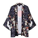 Tee-shirt manches longues à manches courtes Kimono japonais d'été pour hommes et femmes Vetement Marque Polo pas cher grande taille Tops Sweater Cardigan SweatShirt Hoodie Automne (noir, M)