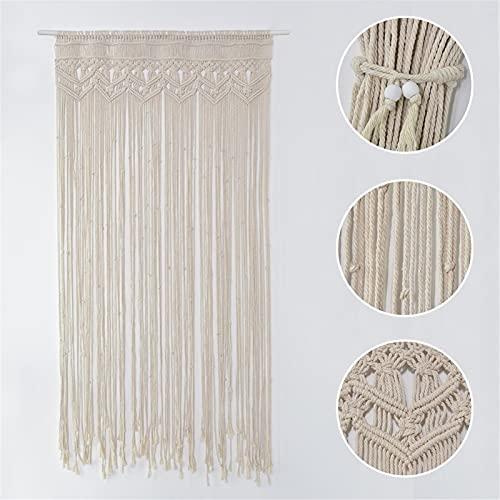 90 x 180 cm macramé pared cortina tapiz, algodón tejido a mano, tapiz bohemio tejido a mano para divisores, cortinas de ventana, cortinas de puerta, fondo de boda, decoración de interiores
