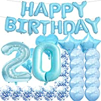 20歳の誕生日デコレーションパーティー用品 ブルーの数字20個バルーン 20個ホイルマイラーバルーン ラテックスバルーン 装飾 20歳の誕生日プレゼントに最適 女の子、女性、男性、写真小道具