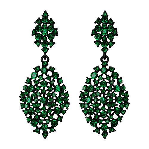 EVER FAITH Mujer Cristal Austríaco Fiesta Ahuecado Lágrima Perforado Colgante Pendientes Verde Tono Negro