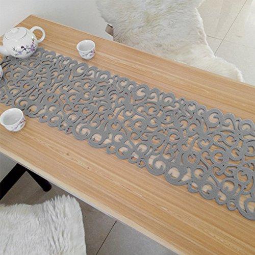 Filz-Tischläufer, Vintage, hitzebeständig, waschbar, 101,6 x 27,9 cm, für Heimdekoration, hellgrau, Free Size