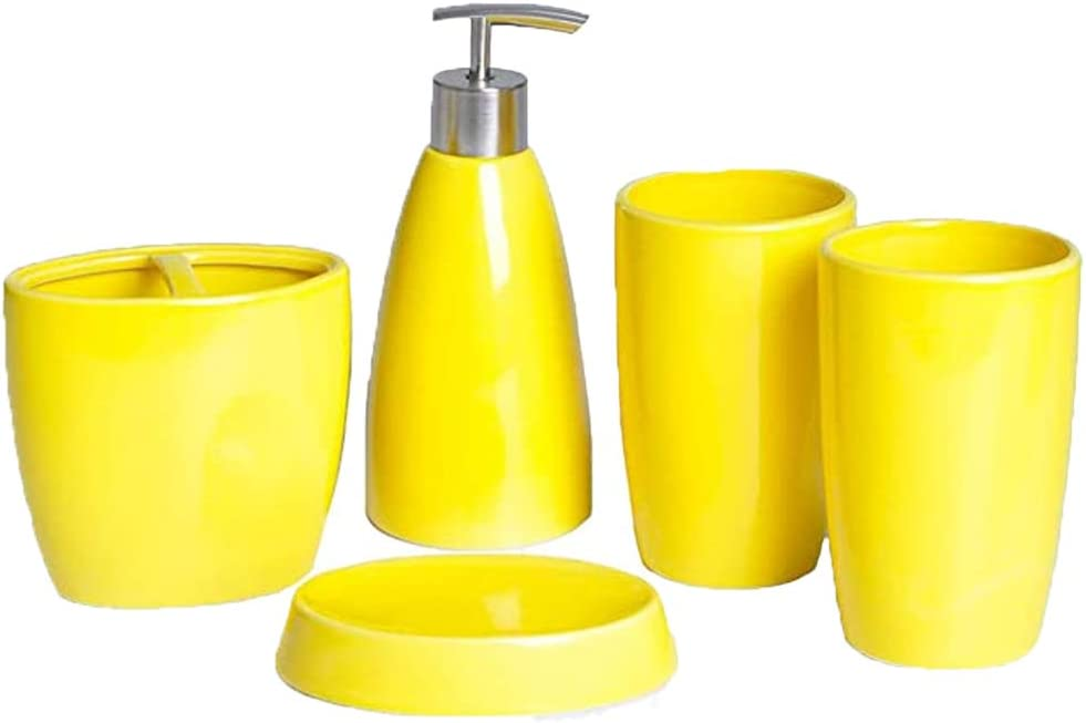 Elegant 5 Piece Ceramic Bathroom Accessory Set Including 1 Soap Dispenser 2 Tumbler 1 Toothbrush Holder And 1 Soap Dish Yellow Home Kitchen