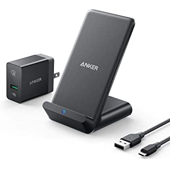 Anker Wireless Charger, PowerWave 7.5 Stand with Internal Cooling Fan, 7.5W for iPhone 11, 11 Pro, 11 Pro Max, Xs Max, XR, XS, X, 8, 8 Plus, 10W for Galaxy S10 S9, Note 10 (with Quick Charge Adapter)