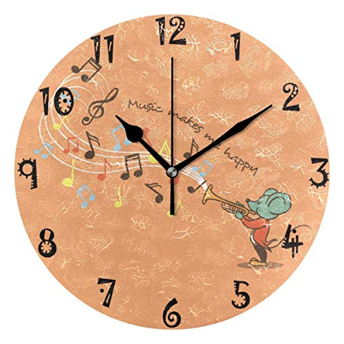 Mesllings Art Mouse Trompete Musik Runde Wanduhr Runde Platte leise nicht tickend Uhr 24 cm