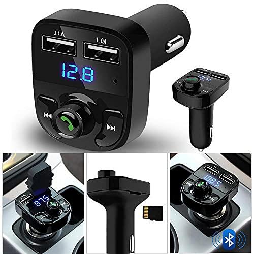 Bluetooth FM Transmitter für Auto, Auto Ladegerät Bluetooth Sender Empfänger Radio Adapter Auto Bluetooth MP3-Player Dual USB Ladegerät Unterstützung U Disk TF Karte kompatibel für alle Smartphones.