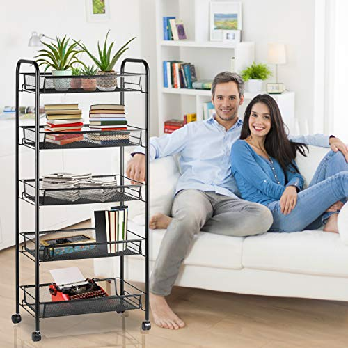 Halter 5 Tier Metal Storage Shelves with Wheels, Roller Cart Wire Storage Baskets, Office Rolling Cart Organizer, Black