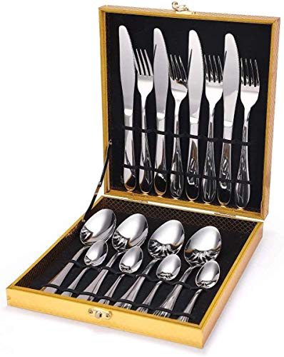 Elegante Cuchillo, tenedor, cuchara, vajilla de acero inoxidable, caja de madera, caja de regalo, juego de 16 piezas, para comedor de cocina familiar, capacidad para 4 personas, caja de regalo