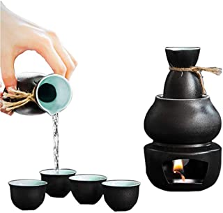 Sake Set Japanese Sake Cup Set Sake Set With Warmer - Traditional Pottery Hot Saki Set 6-Piece Including Hip Flask Wine Glass Warm Pot (Color : Black)