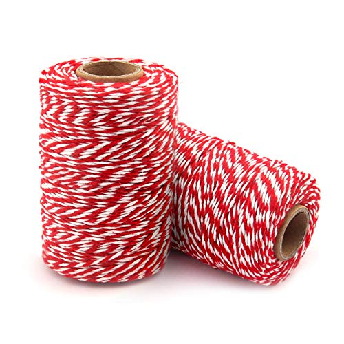 Cotton Bakers Twine Red & White, 1312 Feet/400 m Packing String Durable Rope Perfect for Ribbon, Decoration, Tying Cake, Pastry Boxes, DIY Crafts, Gift Wrapping, Art and Craft