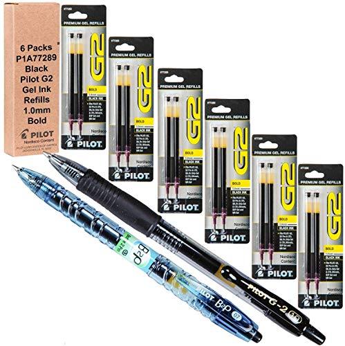 Pilot G2 Refills, Black Gel Ink 1.0mm Bold Pt, 6 Packs of Refills Plus 1 Pilot G2 1.0 Bold Pt. Black Pen and 1 Pilot B2p Black Pen