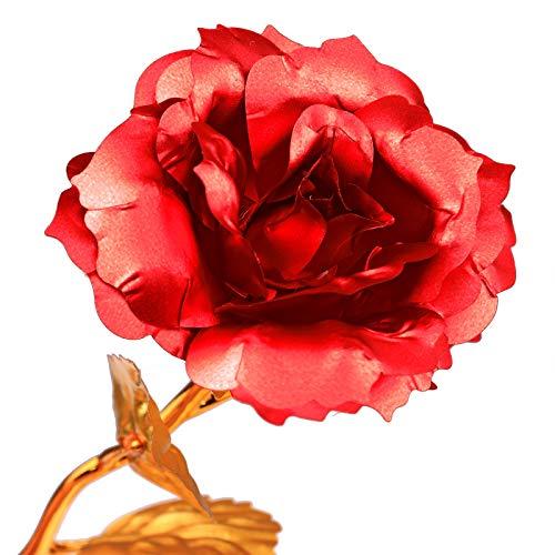POWSTRO K 24K Gold Artificial Rose, Long Stem Foil Golden Flower Romantic Gift for Valentines Day Anniversary Birthday Wedding Special Days for Girlfriend Wife Mom Silk Flower Arrangements