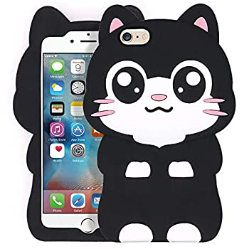Yonocosta iPhone 6 Case iPhone 6S Case Funny Cute 3D Cartoon Big Eye Black Cat Kitty Soft Silicone Rubber Full Protection Case Cover for iPhone 6 / 6S  Pocket Cat
