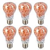 CAMMILE LED A19 Salt Light Bulb E26 7W Light Bulbs Indoor Himalayan Pink Salt lamp Bulb (6 Pack)