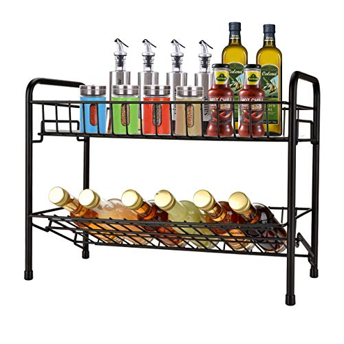 OIZEN Estantería para especias de pie, universal, organizador de cocina, soporte para especias, soporte para especias, estante de cocina, con 2 niveles, color negro