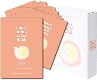 Snail Honey Jelly Face Mask Sheet with Snail Secretion Filtrate Mucin 10,000ppm Honey Extract 10,000ppm for Deep Moisturizing, Pack of 10 by Jin Jung Sung with CrediThink