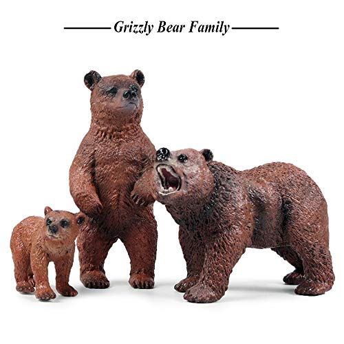 Grizzly Bear Toys Figurines, Plastic Forest Animal Bear Family Figures for Nature Science Learning, Realistic Woodland Creature Party Supplies Cake Toppers, Pack of 3