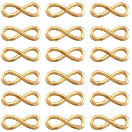 Sadingo Juego de 27 conectores dorados, 15 x 6 mm, para hacer pulseras de mujer o niña, con símbolo del infinito, para parejas