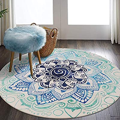 LEEVAN Faux Wool Area Rug 4ft Round Traditional Throw Runner Rug Non-Slip Backing Soft Wool Floor Carpet for Sofa Living Room, Bedroom Modern Accent Home Decor,Mandala Blue