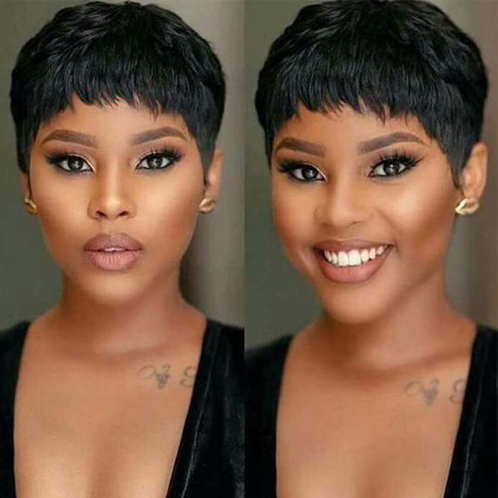 Gabrielle Short Human Hair Pixie Cut Wigs 188 Human Hair Cute Wig Short  Pixie Wigs for Black Women Natural Boy Cut Wigs Pixie Cut, 18B