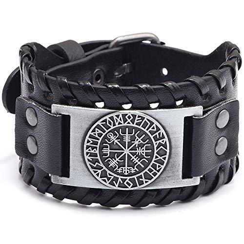 SPARKX Antique Herren Schwarzes Leder Manschette Armband, Leder Armband Pirat Klassische Elemente Vintage Kompass Muster Armband,Ancient Silver,27 * 4cm