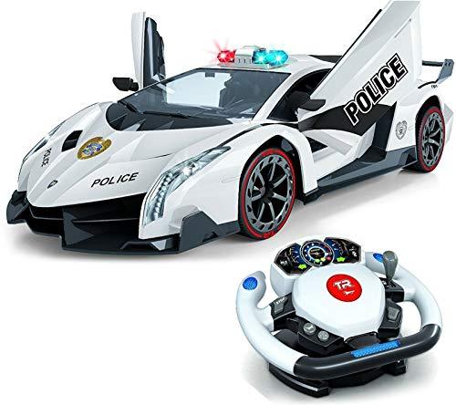 Top Race Control remoto RC Police Car TR-911, 4D Motion Gravity y control del volante, escala 1: 12, 2.4GHz, con luces, sirenas, puertas eléctricas, juguetes, coches de juguete