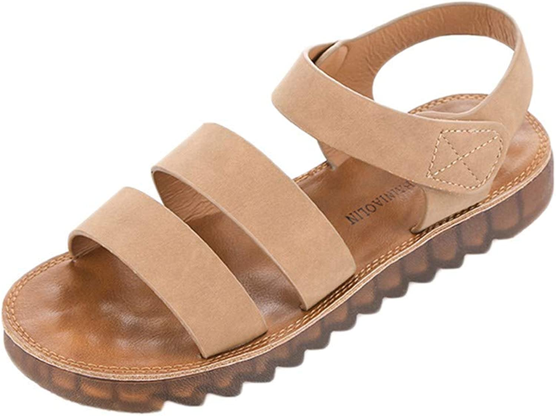 Wallhewb Caopixx Summer Sandals for Women Comfortable Sandals Peep-Toe Low shoes Roman Sandals Skinny Joker Highten Increasing Soft Elegant Comfortable Leg Length Brown US 7 shoes