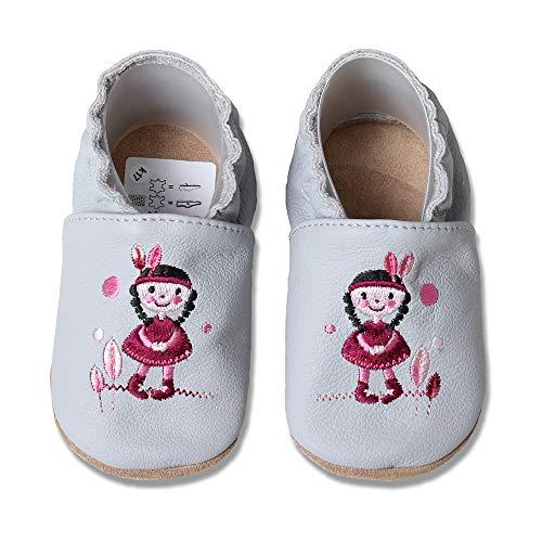 HOBEA-Germany Zapatos para niños y niñas en Diferentes diseños, Talla:16/17 (0-6 Meses), Chica India Gris