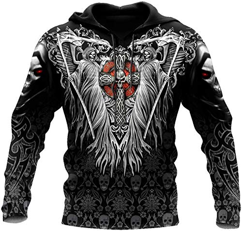 2021 Männer Wikinger Hoodie, Nordic Mythology 3D Druck Odin Tattoo Pullover Sweatshirt, Mode Casual Street Harajuku Hoodie (Color : Skulls on The Cross Tattoo, Size : 3X-Large)
