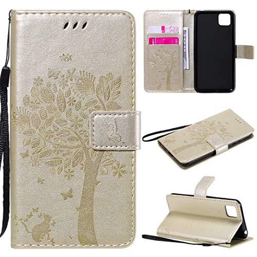 Miagon für Huawei Y5P Geldbörse Wallet Case,PU Leder Baum Katze Schmetterling Flip Cover Klapphülle Tasche Schutzhülle mit Magnet Handschlaufe Strap