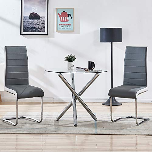 STYLIFING Dining Room Set Round Clear Glass Top Crisscrossing Chrome Metal Legs Kitchen Table and 2 Modern High Back Grey Faux Leather Chairs Home Kitchen Office Waiting Room Use