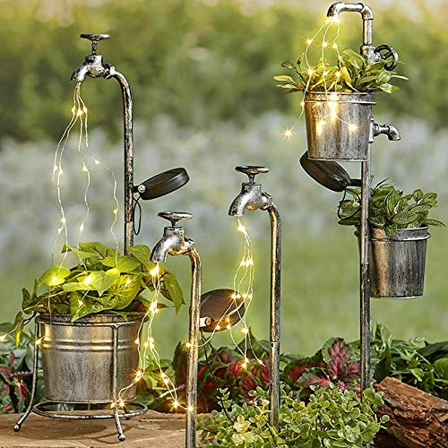 DQANIU Garden Art Light Decor Solar Water Tap Planter Light Lawn Art Outdoor Decor