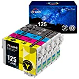 Uniwork Remanufactured Ink Cartridge Replacement for Epson 125 T125 use for NX125 NX127 NX130 NX230 NX420 NX530 NX625 Workforce 320 323 325 520 Printer (2 Black, 1 Cyan, 1 Magenta, 1 Yellow)