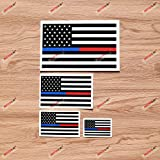 Thin Blue Red Line Police Fire American Flag Decal Vinyl Sticker - 4 Pack Glossy, 2 Inches, 3 Inches, 4 Inches, 6 Inches - for Car Boat Laptop Cup Phone