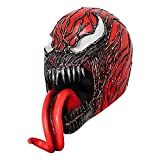 Deluxe Creepy Red Venom Mask Latex Helmet Halloween Costume Party Accessories (RED)