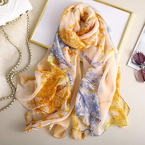 ALWYHH lente zomer vrouwen sjaal zijde sjaals bloemen vrouwelijke sjaal dames Beach cover-ups wrap bandanna uitlaat pareo