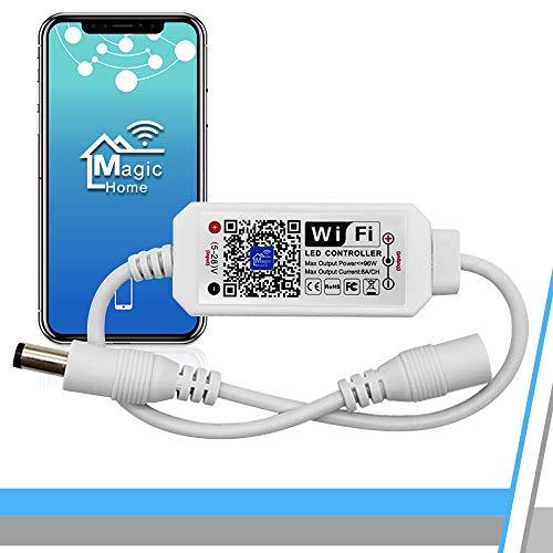 WIFI Dimmbar Warmweiß Led Streifen Controller,Wifi/App gesteuert arbeite mit Alexa,Dimmer Controller für Android/IOS System 5V-28V,Stimmenkontrolle,Dimmbar, Timing Funktion