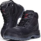ROCKROOSTER Men's Work Boots, Steel Toe, YKK Zipper, 6 inch, Slip Resistant Safety Oiled Leather Shoes, Static Dissipative, Breathable, Quick Dry(AK050 Black, 10)