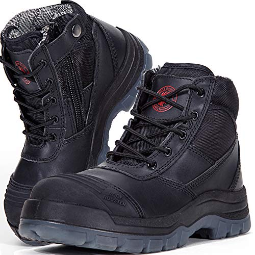 ROCKROOSTER Men's Work Boots, Steel Toe, YKK Zipper, 6 inch, Slip Resistant Safety Oiled Leather Shoes, Static Dissipative, Breathable, Quick Dry(AK050 Black, 9.5)