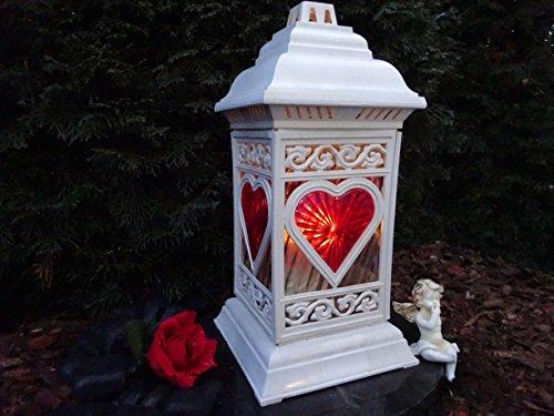 ♥ Grablaterne Grablampe Herz incl. LED Grablicht 36,0cm Grabschmuck Grableuchte Laterne Kerze Grabkerze Licht Friedhof Garten Trostherz