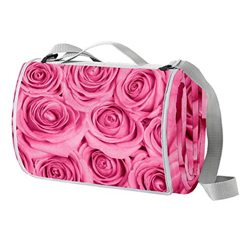 Anmarco Picknickdecke mit rosa Rosen, wasserdicht, faltbar, für Strand, Camping, Wandern