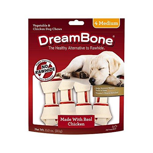 Dreambone Vegetable & Chicken Dog Chews, Rawhide Free, Medium, 4-Count, Medium, 4 pieces/pack (DBC-00257)