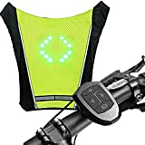 XTPower Xplorer Night | LED Turn Signal Vest Bike Pack Guiding Light Reflective Luminous Safety Warning Direction Backpack with Remote Controller for Night Cycling Running Walking Hiking Bag