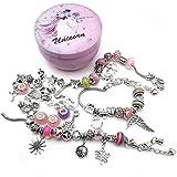 WOCRAFT DIY Pink European Bead Charm Bracelet Making Kit Jewelry Making Supplies Bead Snake Chain Jewelry Gift Set for Girls Teens (M361)