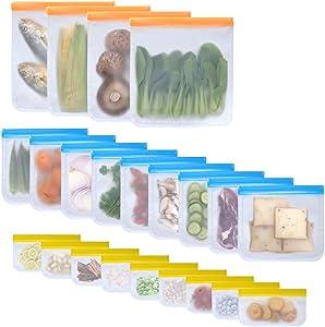 Koja 22-Pack Reusable Eco-friendly Flat PEVA Food Storage and Freezer Bags. BPA Free, FDA Safe Food Grade, Leak Proof. For Kids, Snack, Lunch, Sandwich, Fruit, Vegetable, Meat.