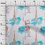 oneOone Viskose-Jersey Stoff Text, Schuhe & Eiffelturm