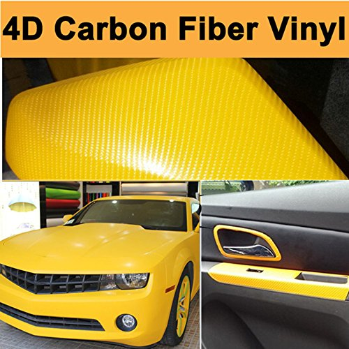 DIYAH 4D Yellow Carbon Fiber Vinyl Wrap Sticker with Air Release Bubble Free Anti-Wrinkle 12 X 60 (1FT X 5FT)