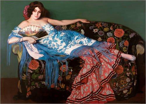 Posterlounge Lienzo 80 x 60 cm: Lolita with a Blue Scarf de Ignacio Zuloaga Zabaleta - Cuadro Terminado, Cuadro sobre Bastidor, lámina terminada sobre Lienzo auténtico, impresión en Lienzo